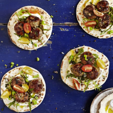 lamb kofta pitas with whipped spicy cow